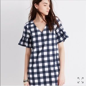 Madewell Leighton Plaid Bell Sleeve Dress